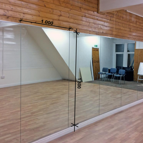 Зеркало в спортивный зал 1800 1000 мм. ( 180 х 100 см)