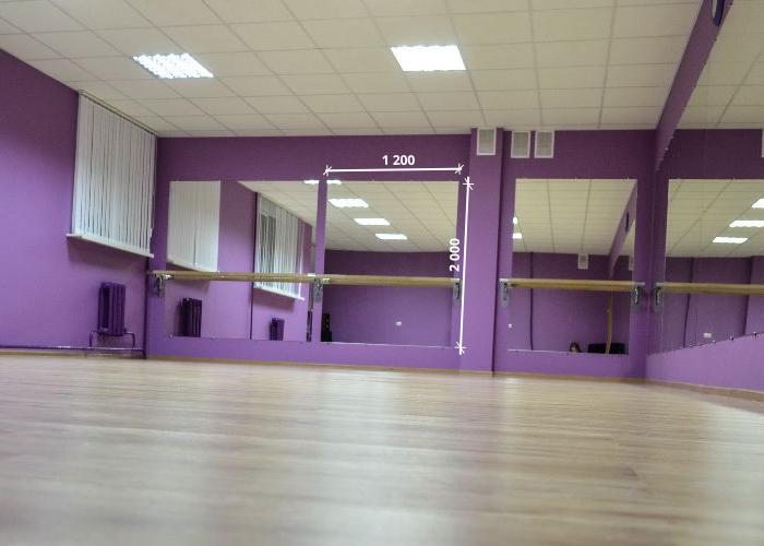 Зеркало в танцевальный зал 2000 1200 мм.