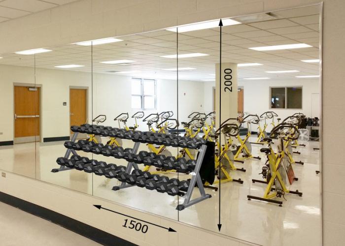 Зеркала в тренажерный зал 2000 1500 мм.