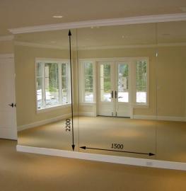 Зеркало в спортивный зал 2200 1500 мм. ( 220 х 150 см)
