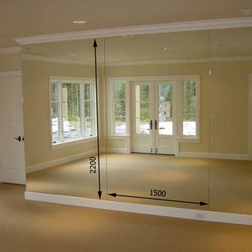 Зеркало в спортивный зал 2200 1500 мм.